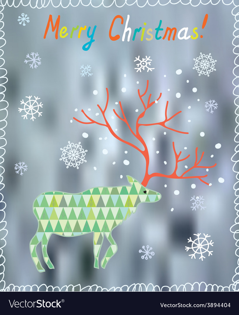 Merry Christmas card with ornate deer and snow