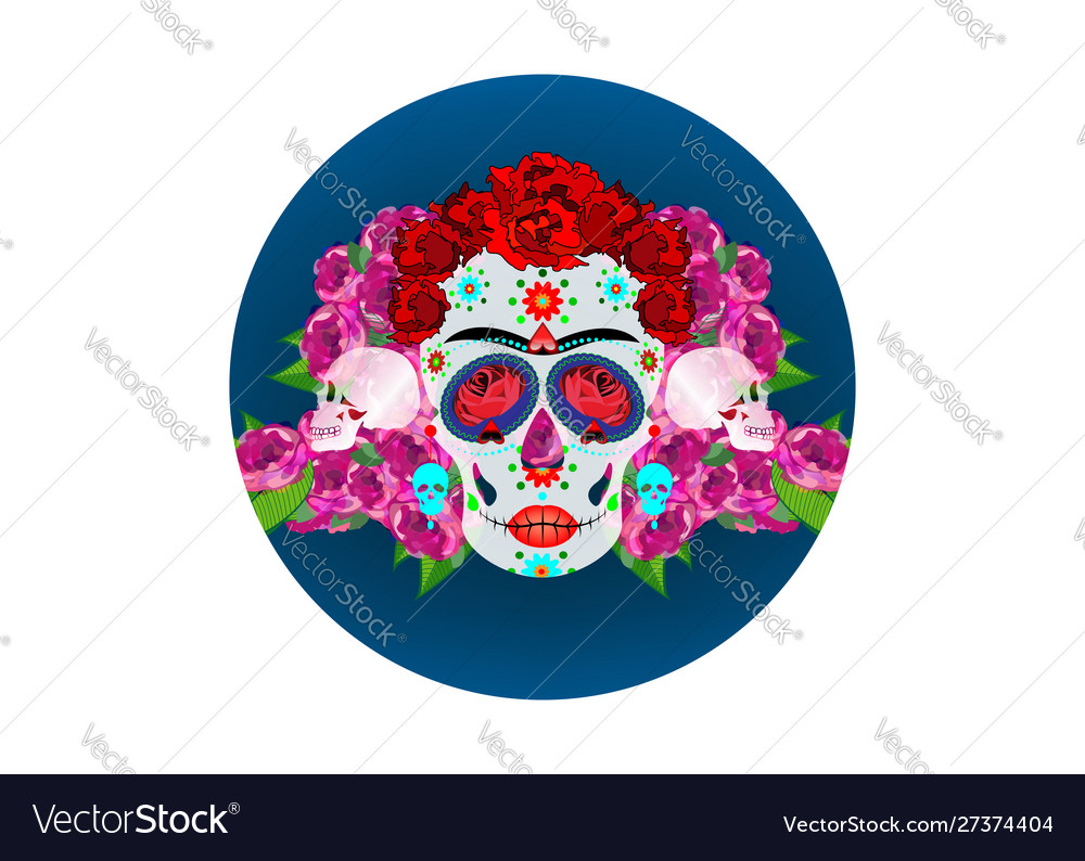 Mexican skull with flowers day dead