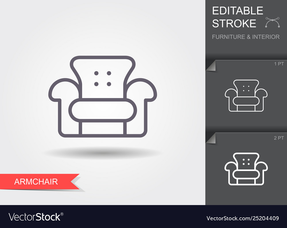 Armchair line icon with editable stroke with