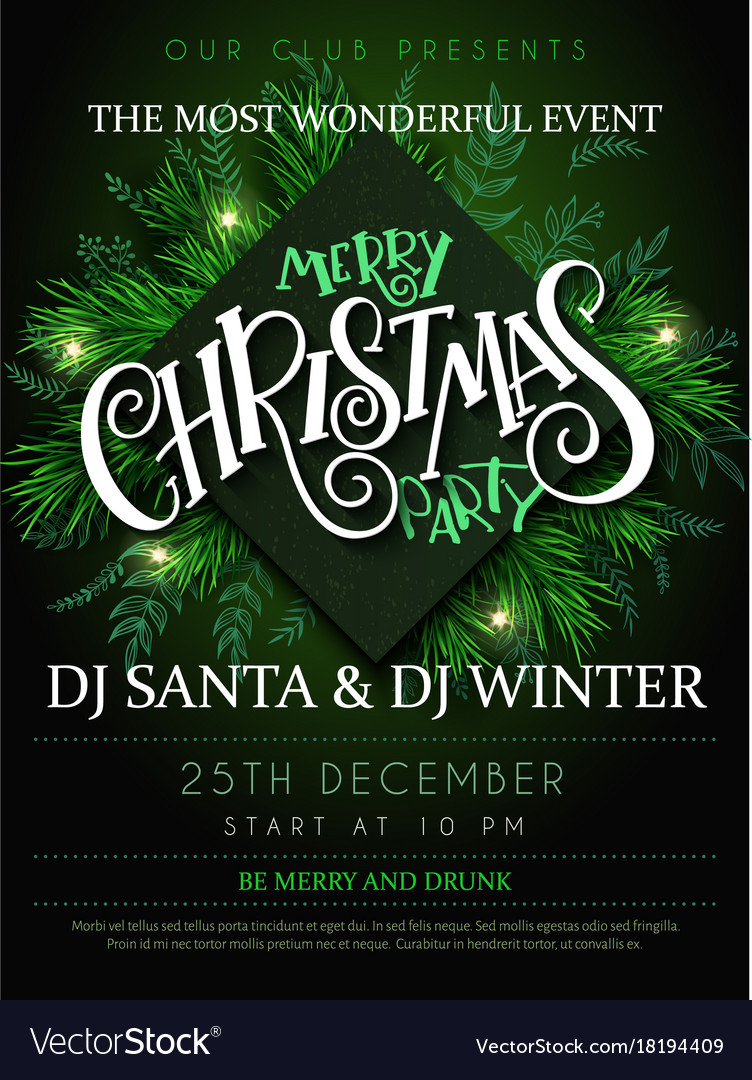 Christmas Party Poster Royalty Free Vector Image
