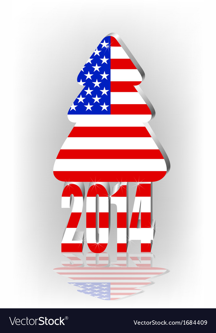Christmas tree with the American flag vector image