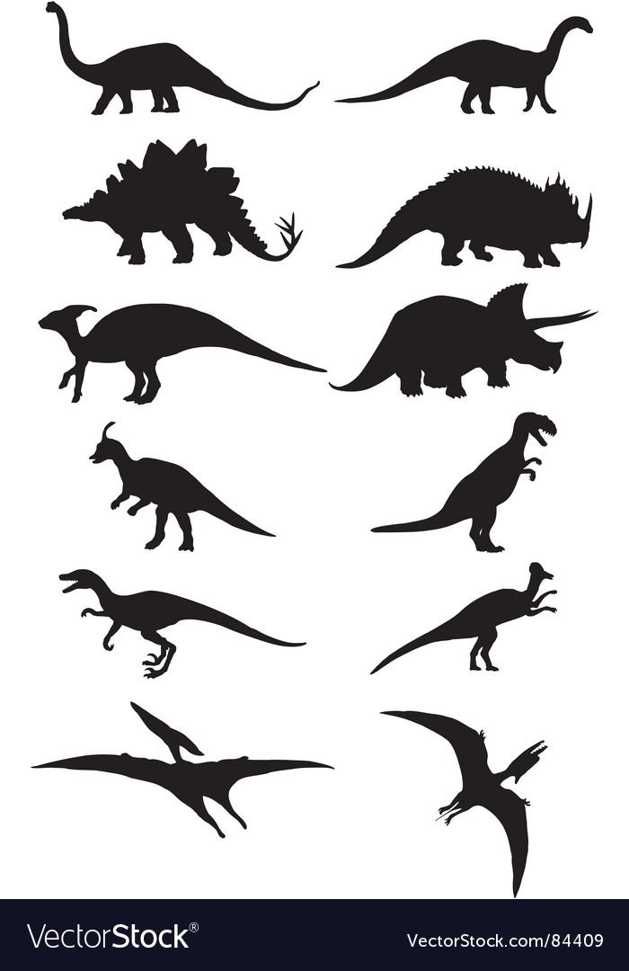 Dinosaur silhouette vector image