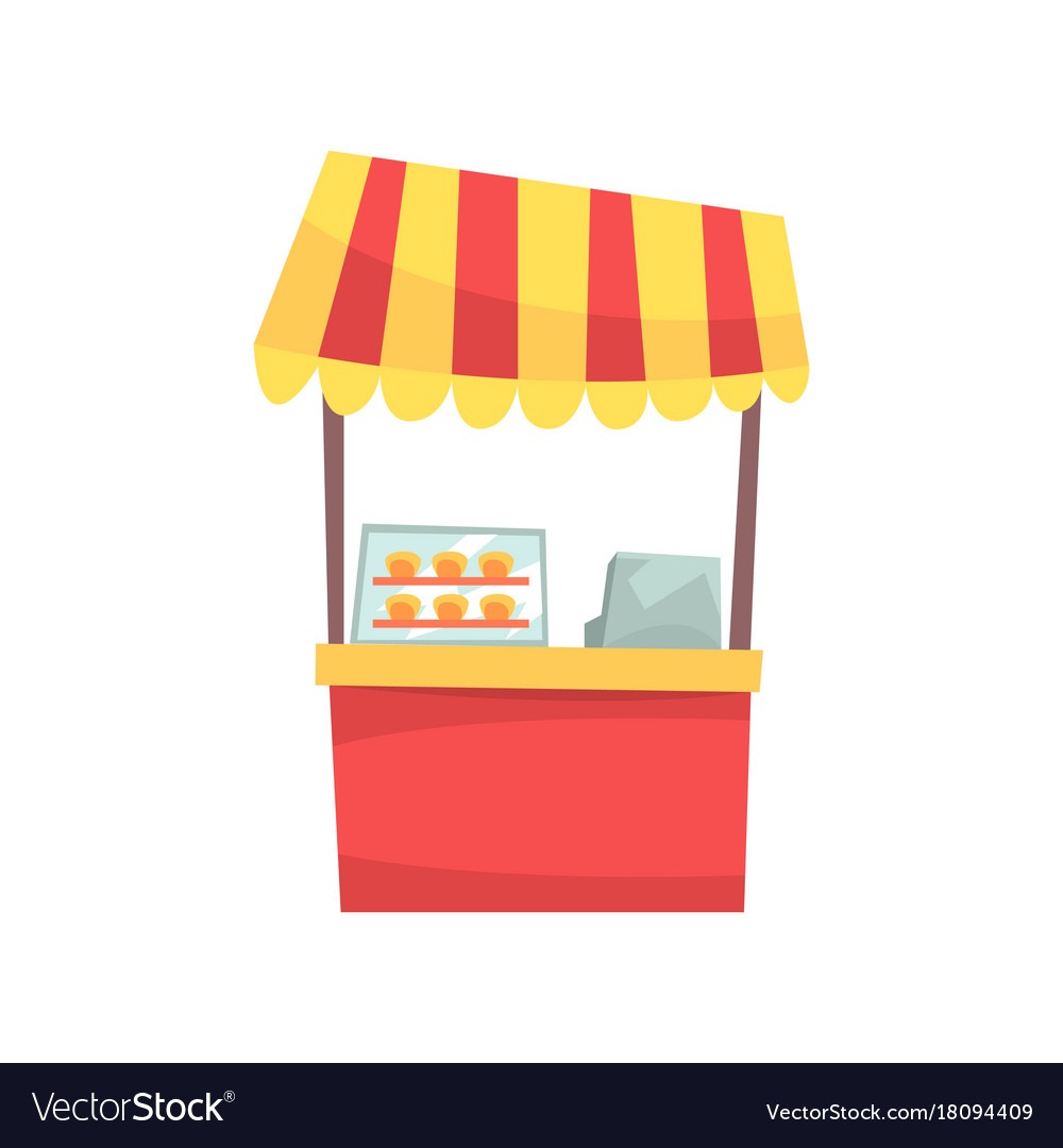 Food stall with cupcakes and sweets fixed market