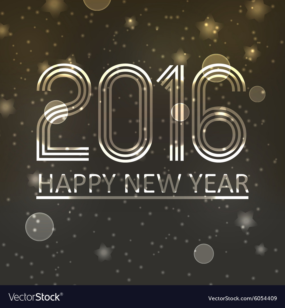 Happy new year 2016 on dark shiny stars background