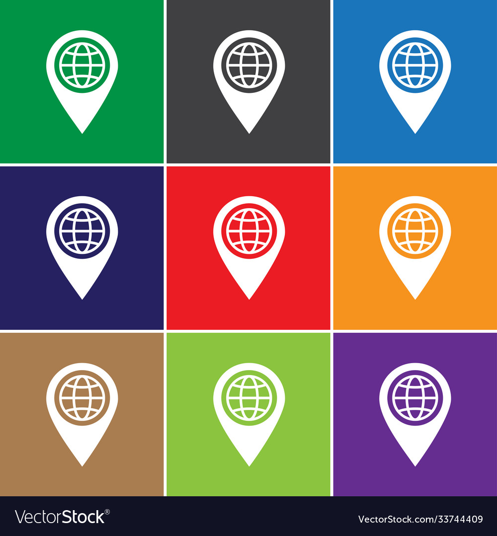 Place pin globe icon sign icon pin globe