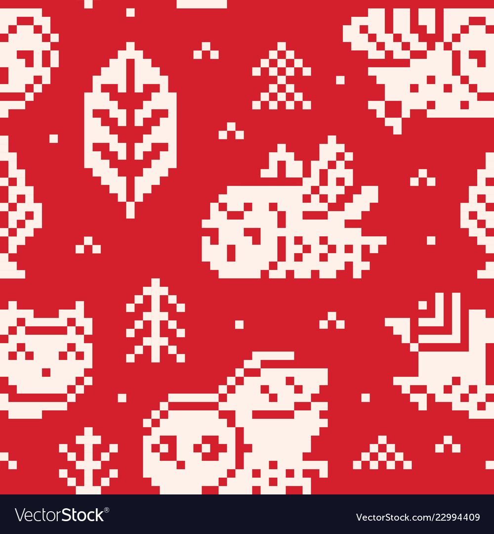 Red winter background with owls and trees in pixel
