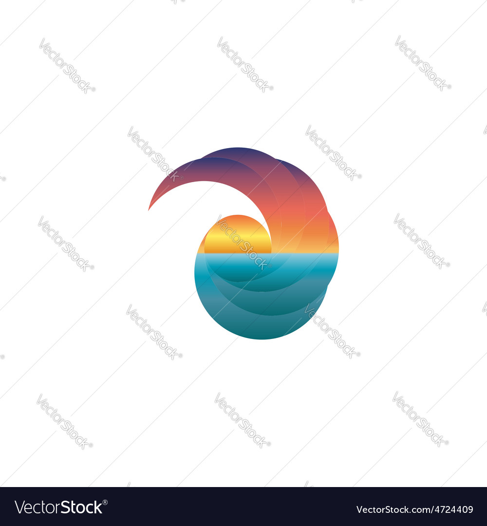Summer tourism mockup logo sun at sunset design