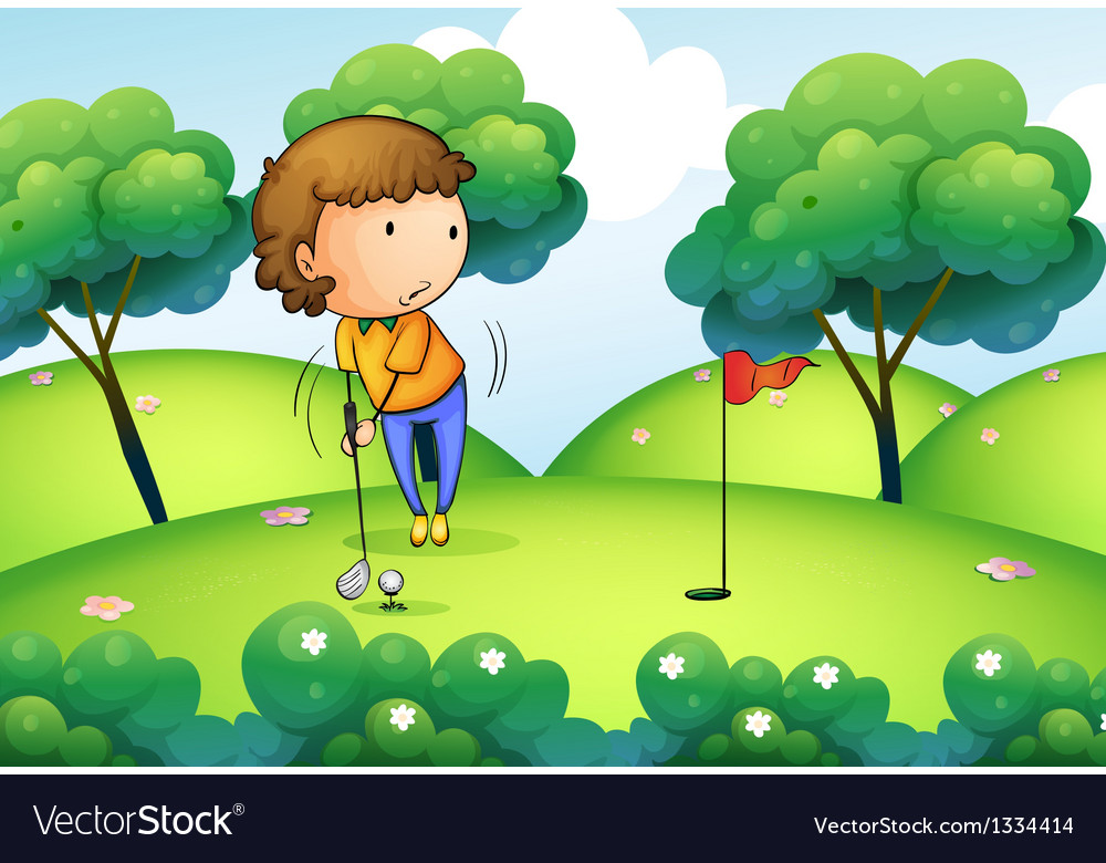 A woman playing golf at the top of the hill