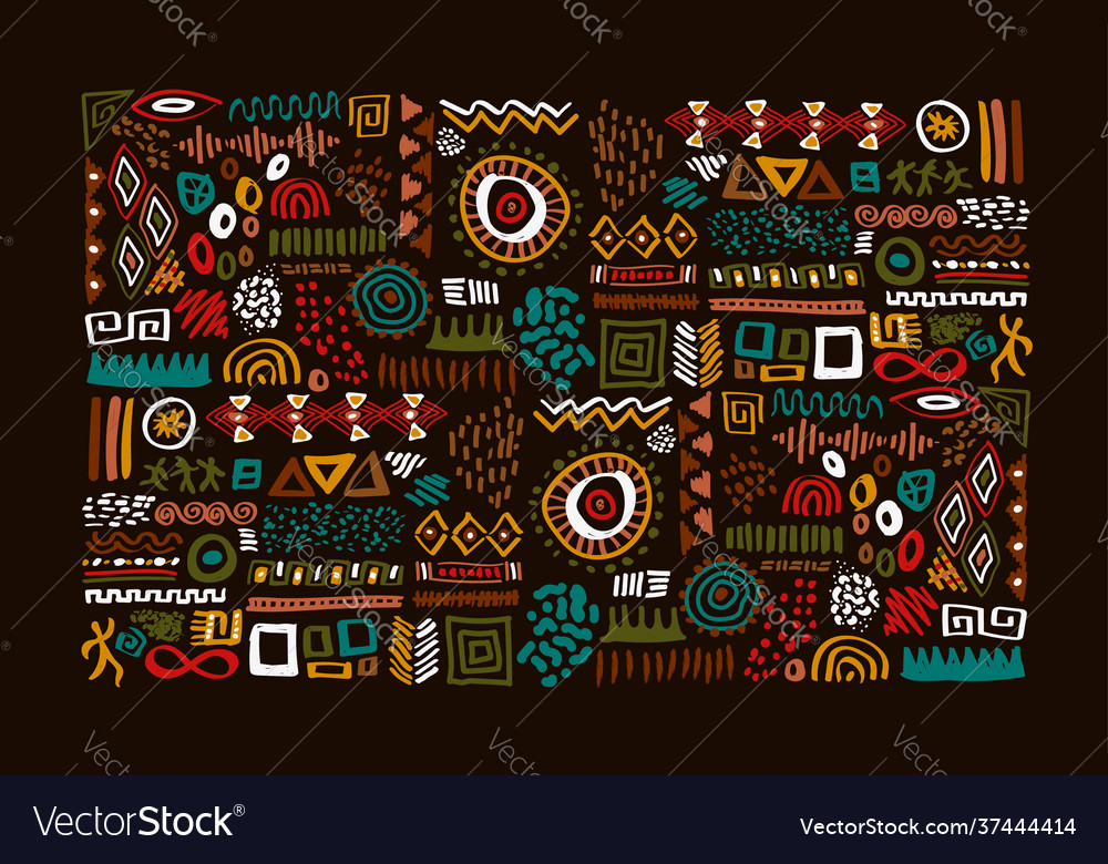 African tribal art traditional symbol set isolated