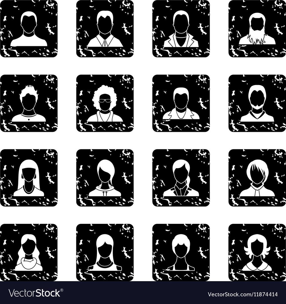 Avatars set set icons grunge style