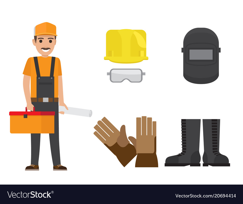 Builder with toolbox plan and protective clothing vector image