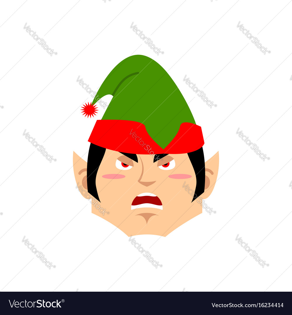 Christmas elf angry emoji santa helper aggressive vector image