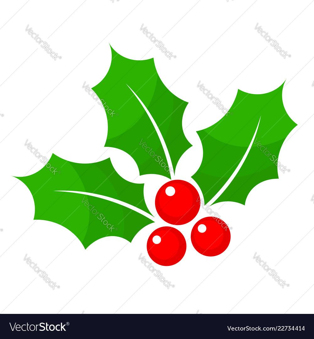 Christmas Holly Cartoon.Christmas Holly Berry Flat Icon In Cartoon Style