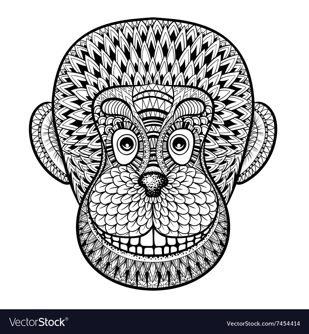 Coloring Pages With Head Of Monkey Gorilla Vector Image