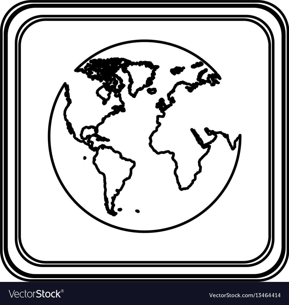 Contour emblem earth planet icon vector image