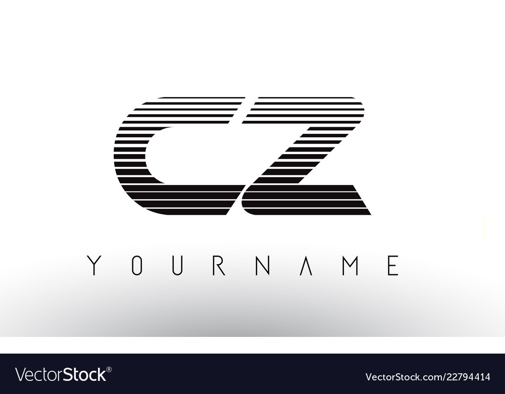 Cz Black And White Horizontal Stripes Letter Logo Vector Image