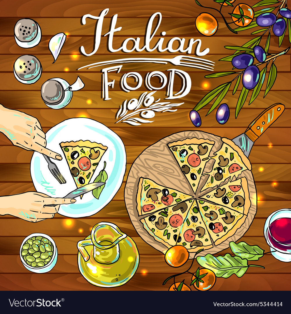 Decorative food- beautiful hand-draw pizza and