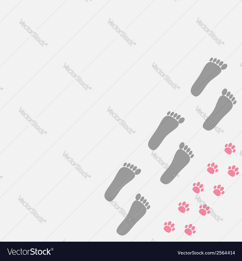 Grey bare foot print and pink paw print in the