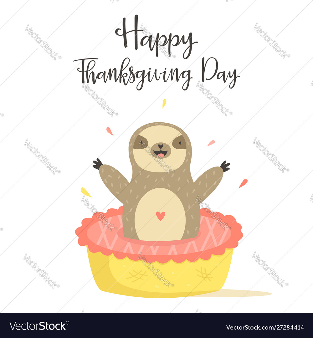 Happy thanksgiving day card with cute sloth