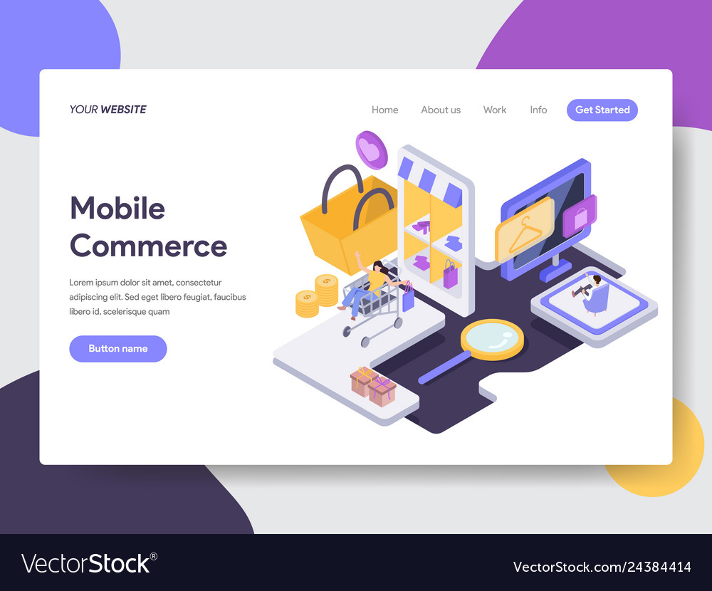 Landing page template of mobile commerce concept
