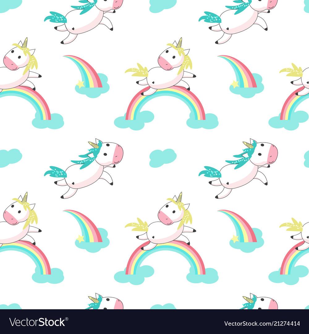 Magic unicorn with rainbow seamless pattern