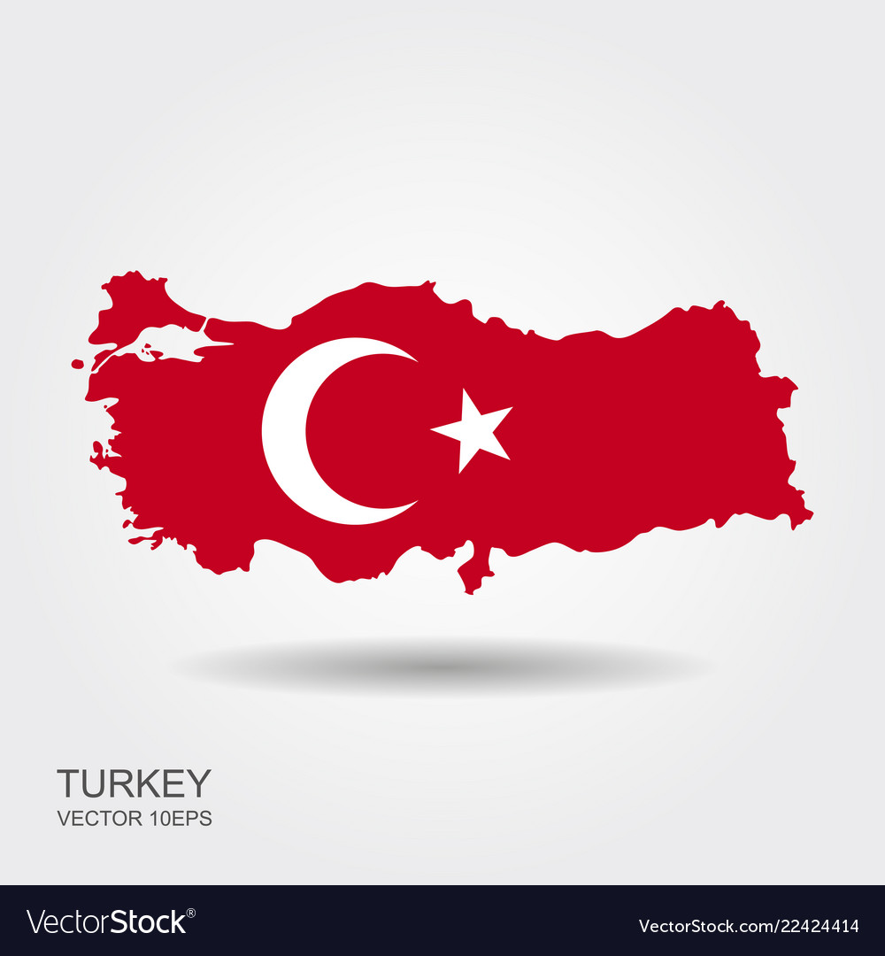 Map of turkey and national flag symbols white