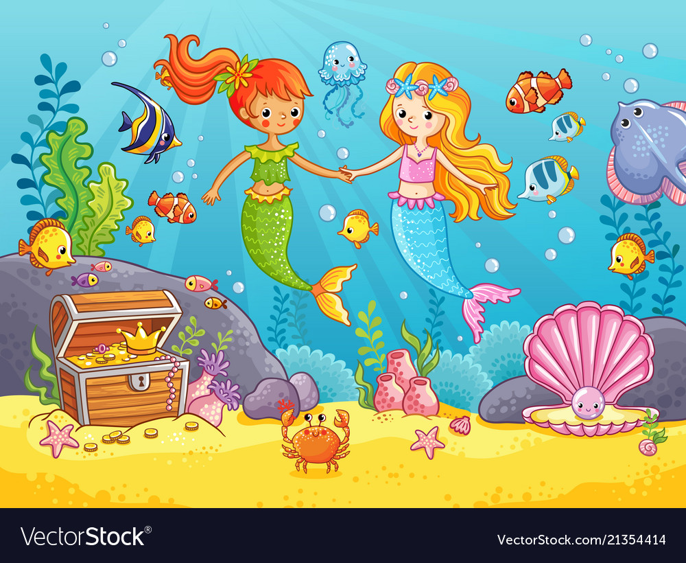 Mermaids among the fishes hold hands