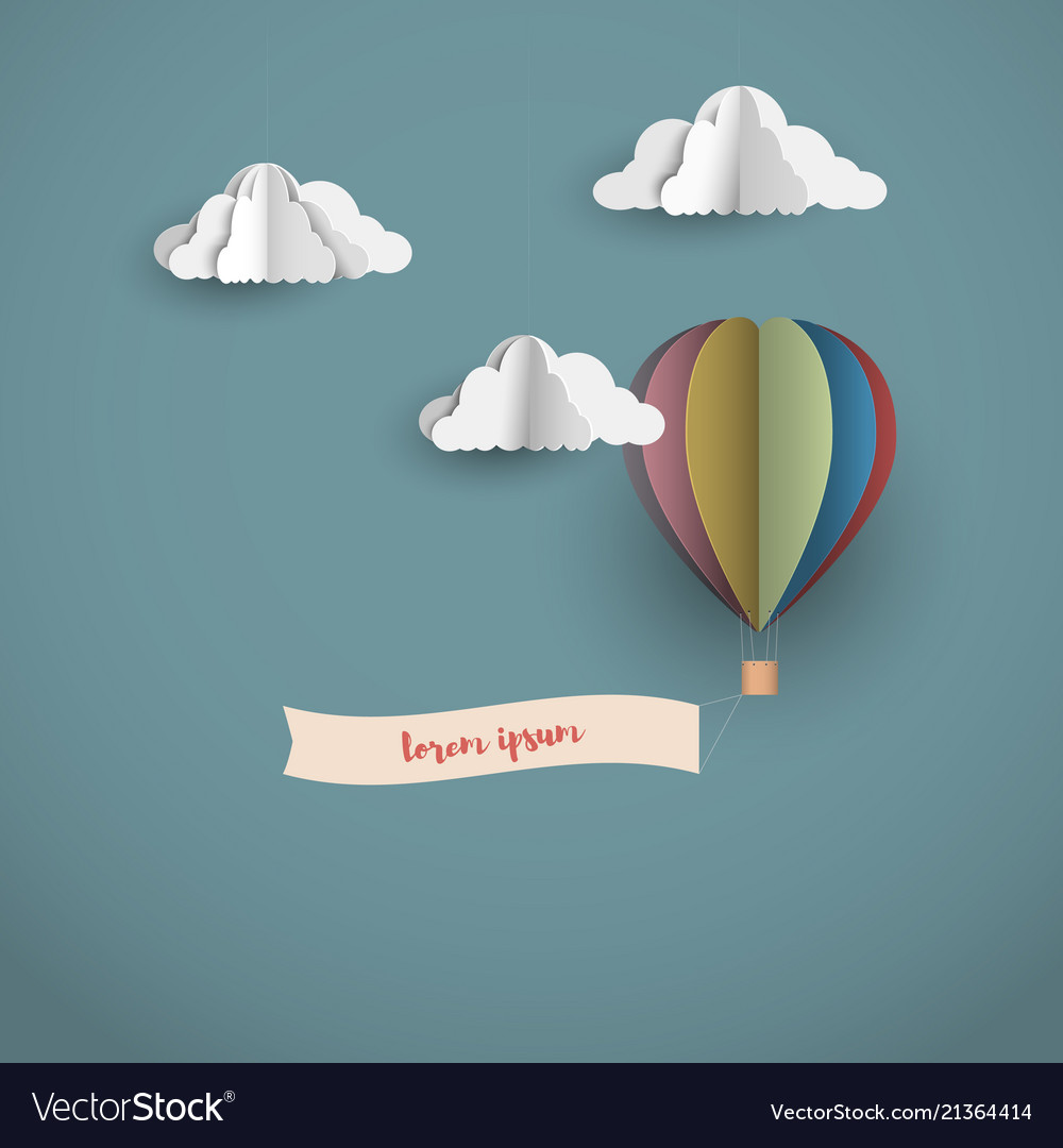 Origami clouds and hot air balloon with banner
