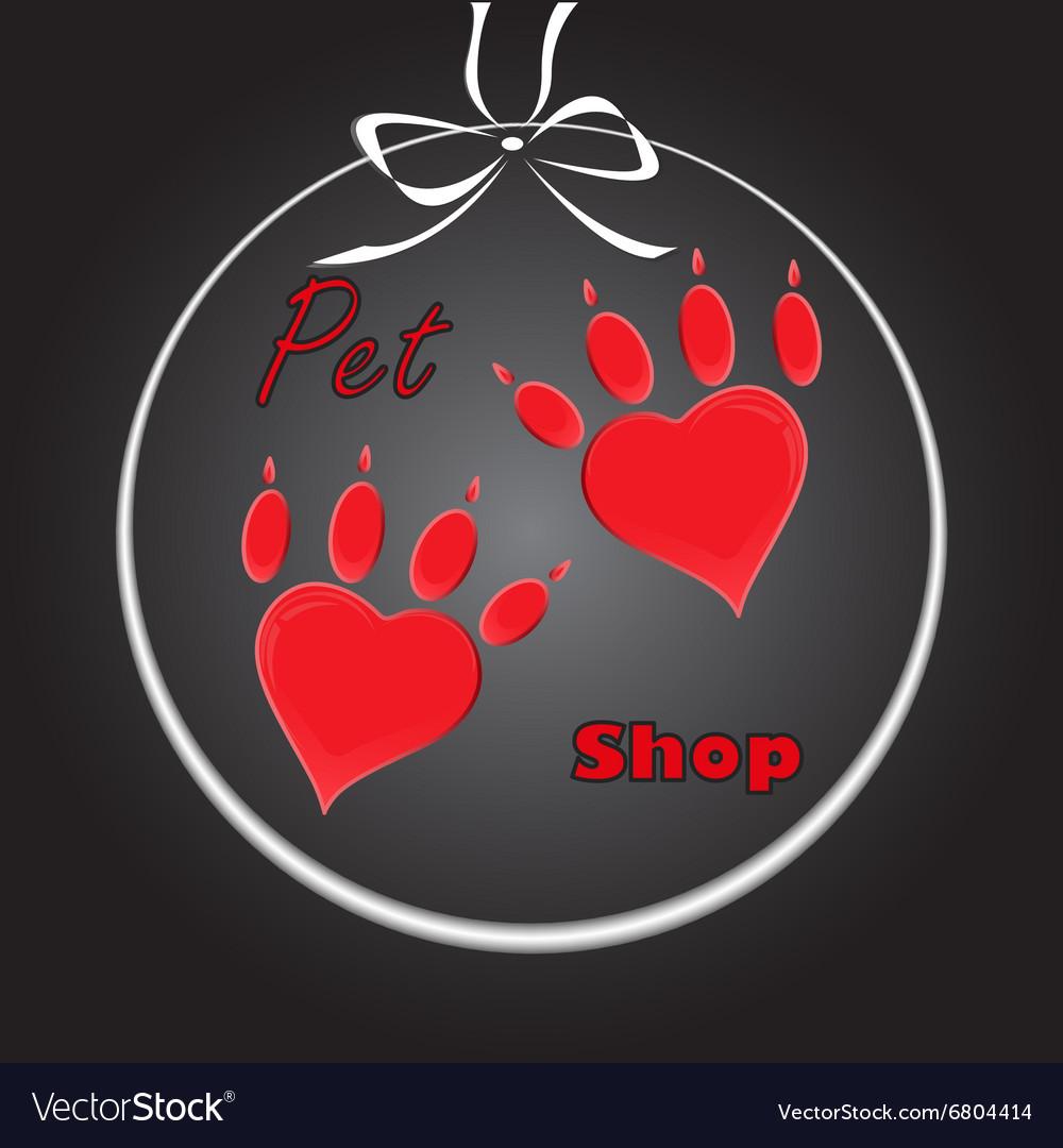 Pet heart logo dog paw logo zoo shop