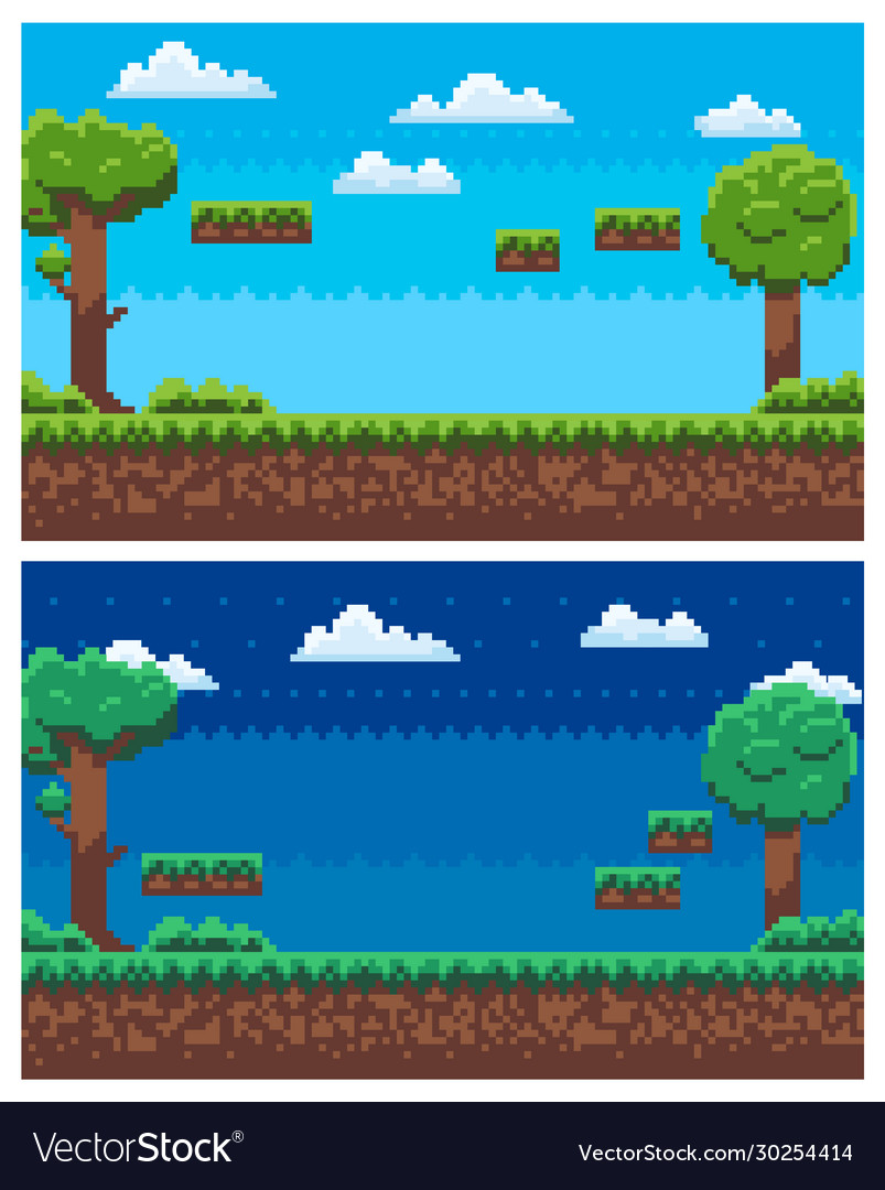 Pixel game scene day and night view panorama