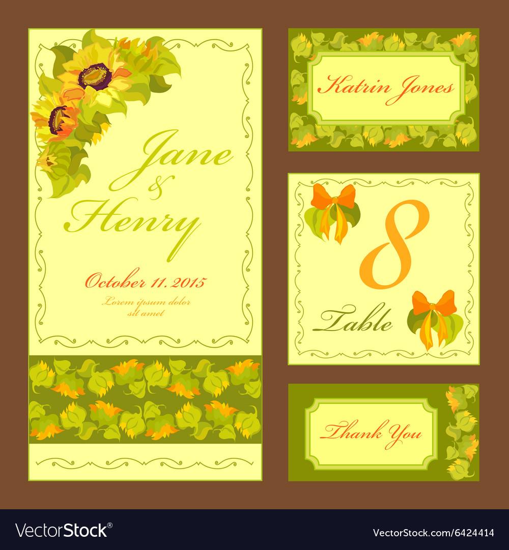 Sunflower Wedding card set Printable