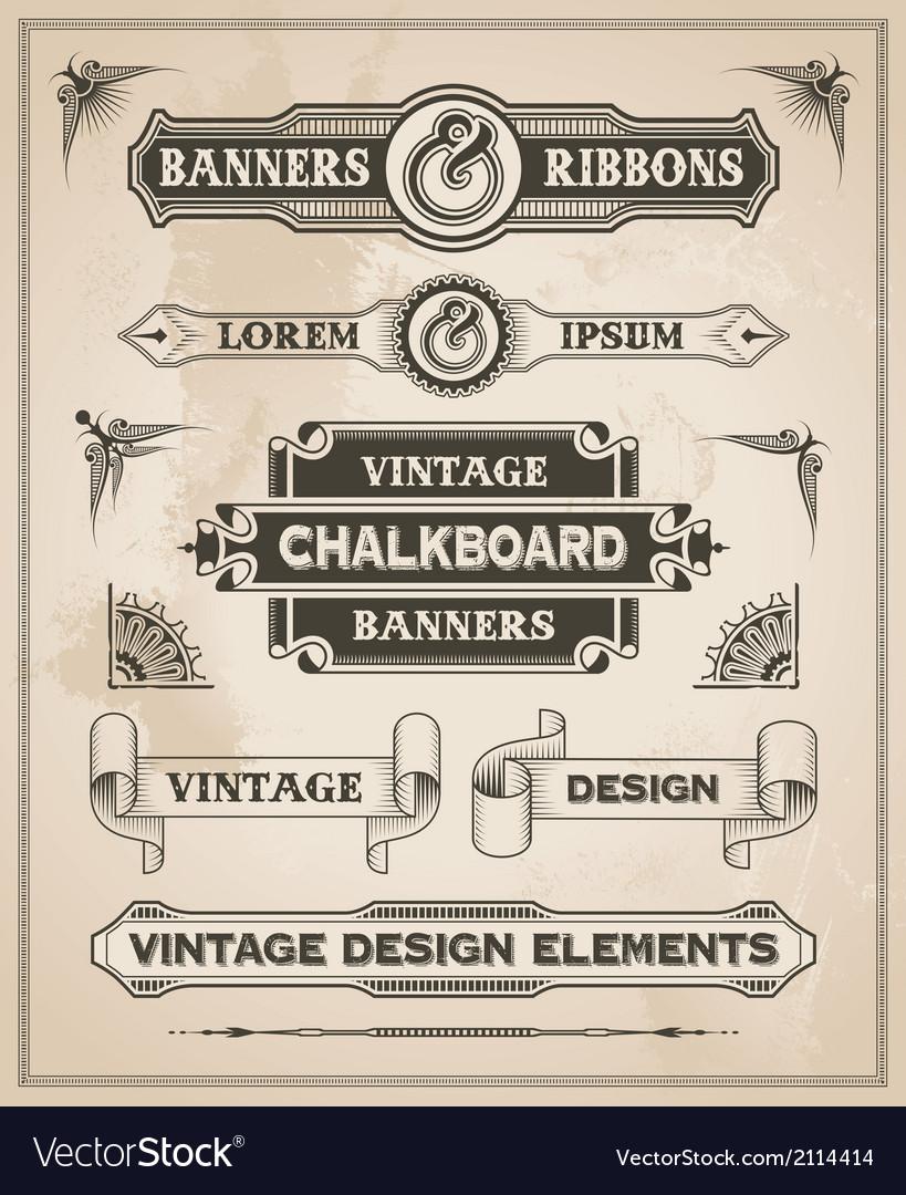 Vintage retro banner and ribbon set