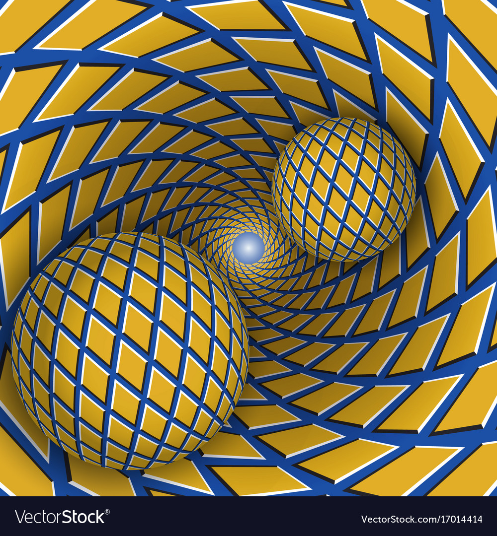 Visual two balls are moving on vector image