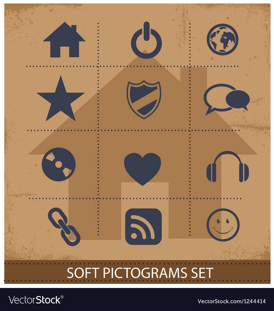 Web software pictogram symbols set isolated vector image