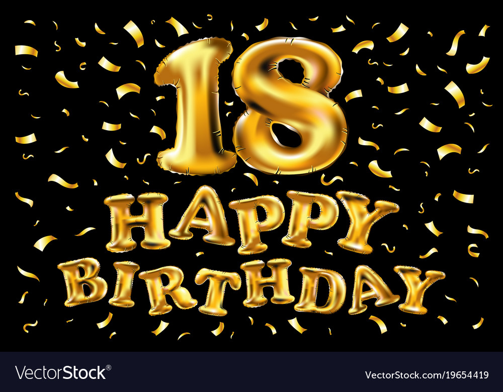 Marvelous 18 Years Anniversary Happy Birthday Joy Royalty Free Vector Funny Birthday Cards Online Fluifree Goldxyz
