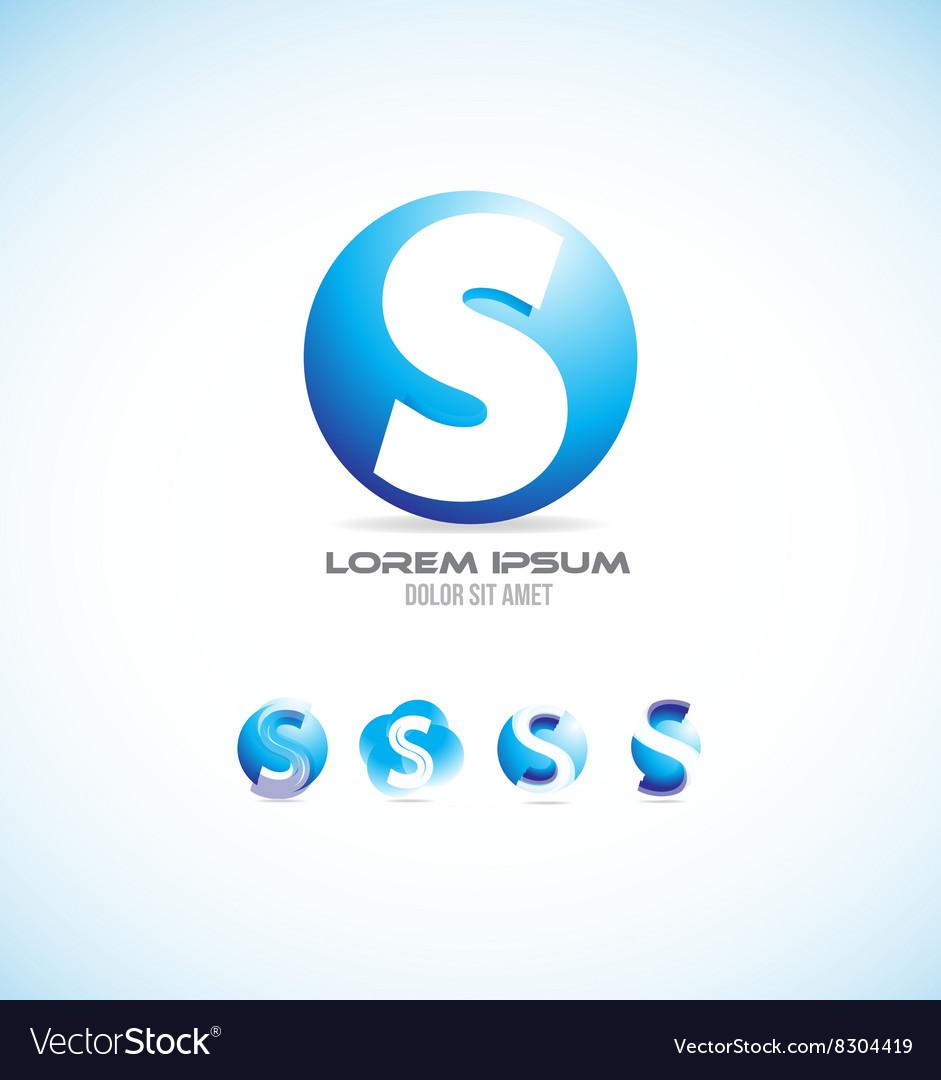 Alphabet letter s sphere logo icon set