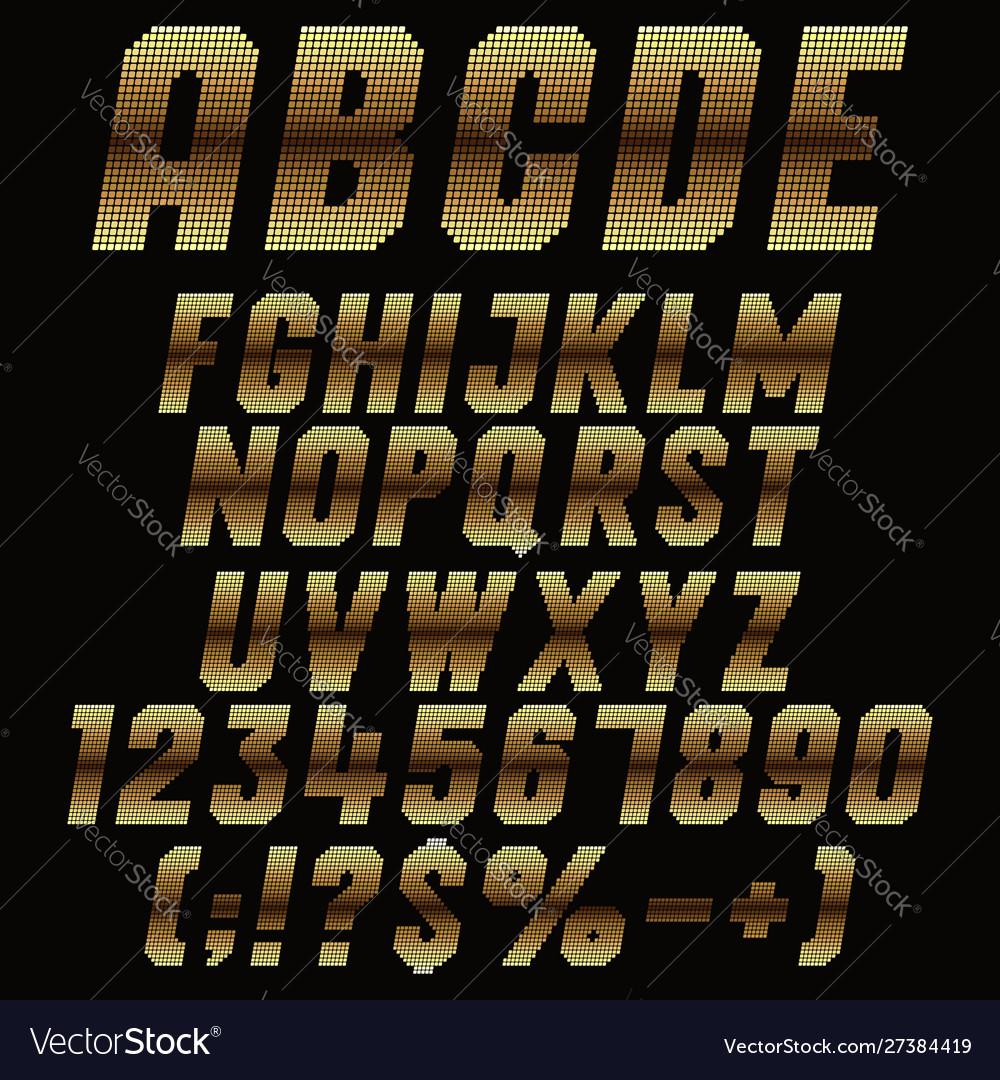 Alphabet signs pixels with gold gradient