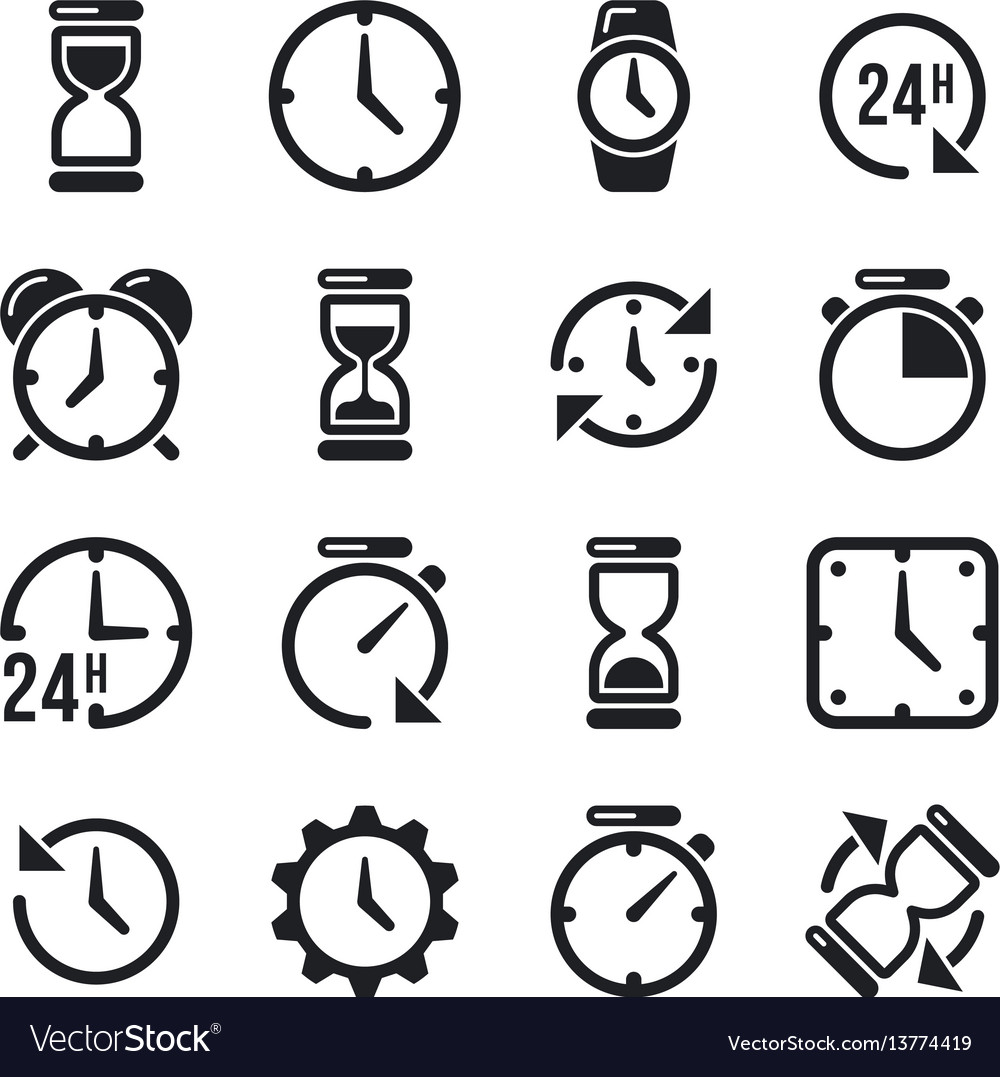 Clock time chronometer pictograms