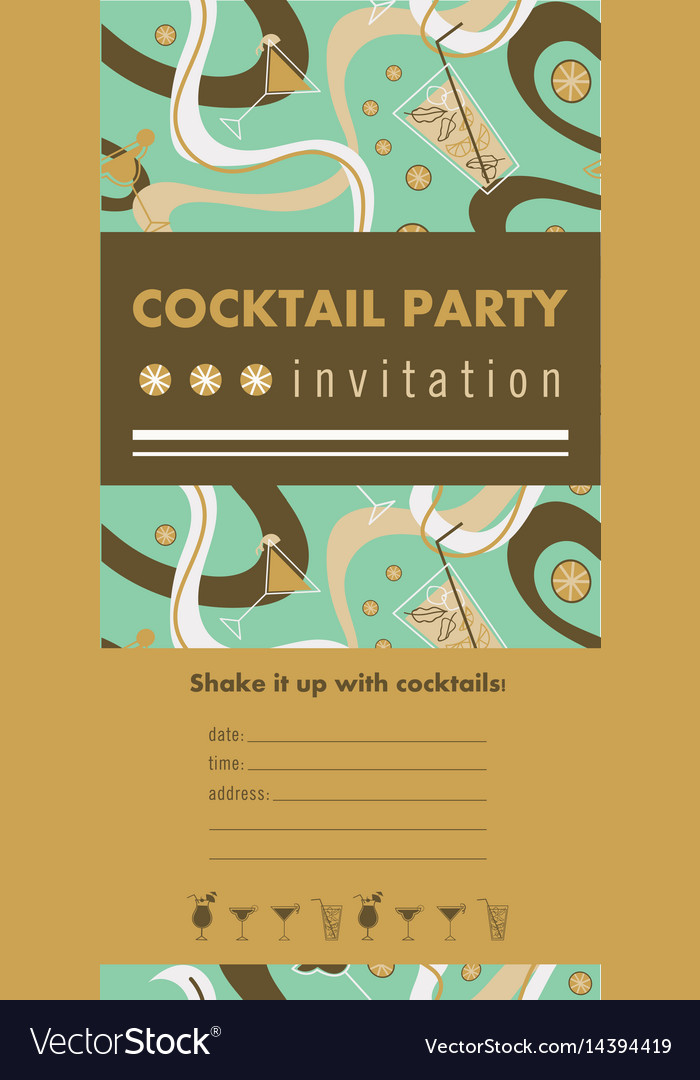 Cocktail party vertical invitation card