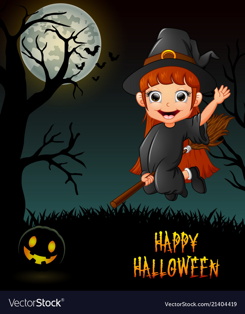Cute little witch flying riding on broom in night