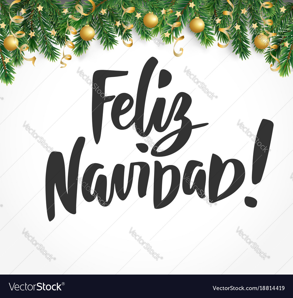 Feliz navidad text holiday greetings spanish Vector Image