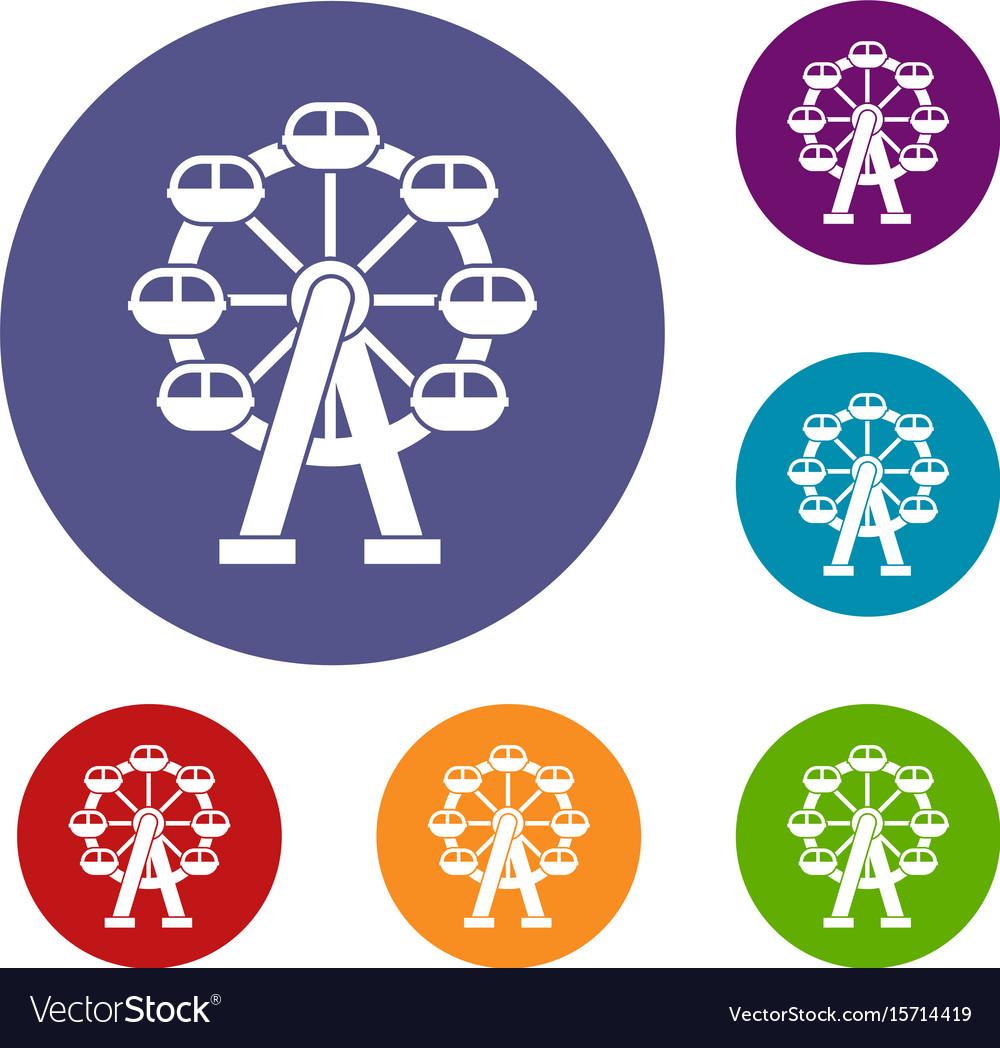 Ferris wheel icons set