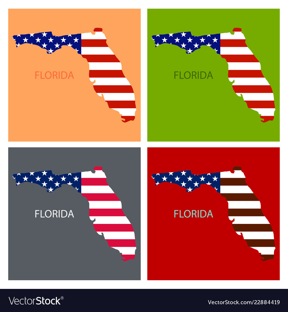 America Map Florida.Florida State Of America With Map Flag Print On Vector Image