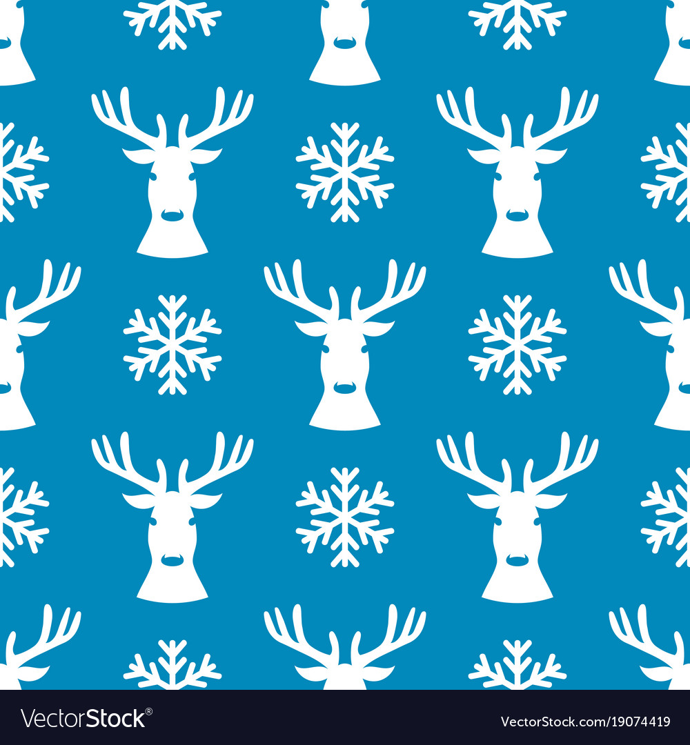 Seamless pattern with deer and snowflake vector image