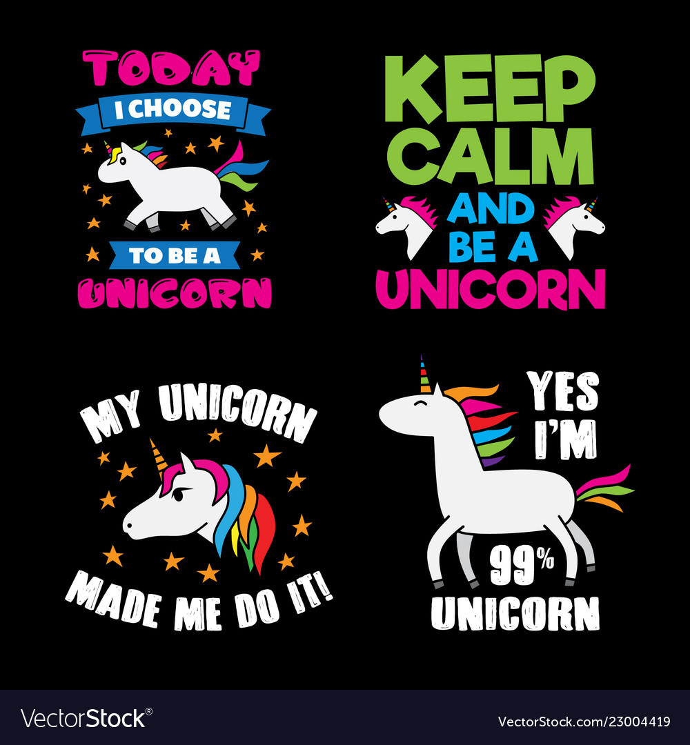 Unicorn saying quote set