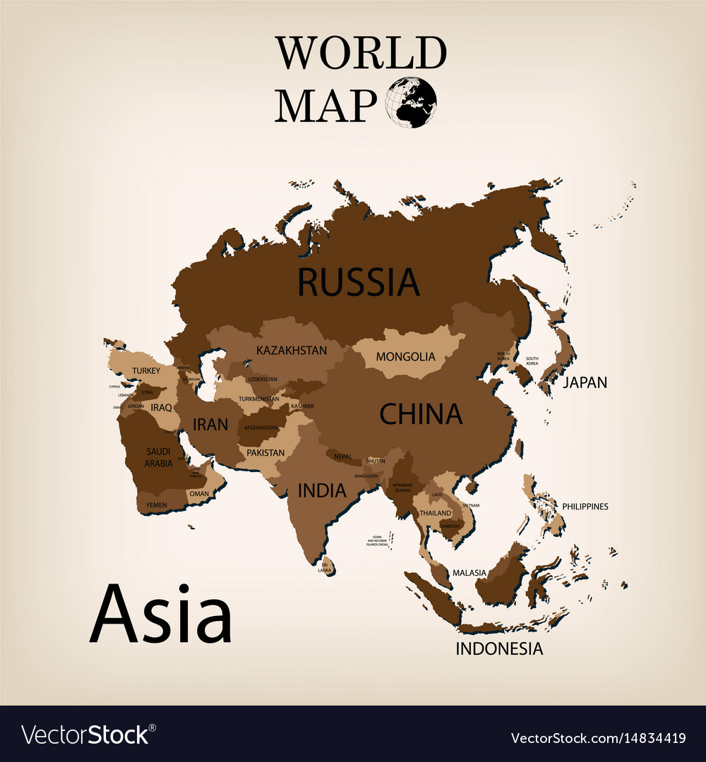 Map Of Asia Vector.World Map Asia
