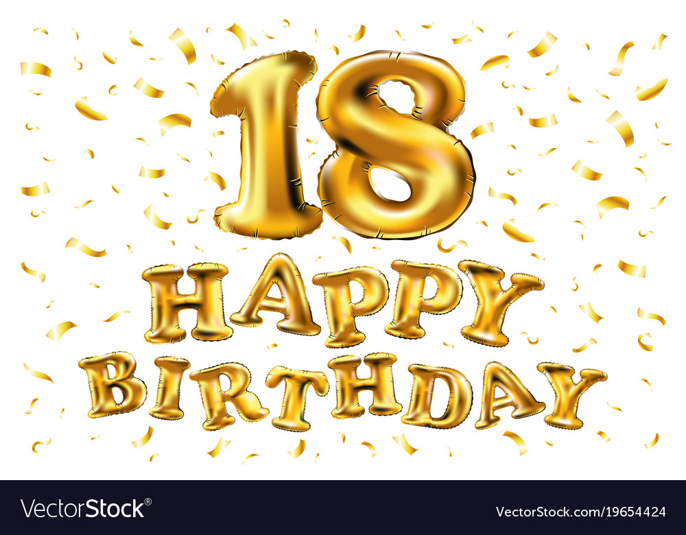 18th Birthday Celebration With Gold Balloons And Vector Image