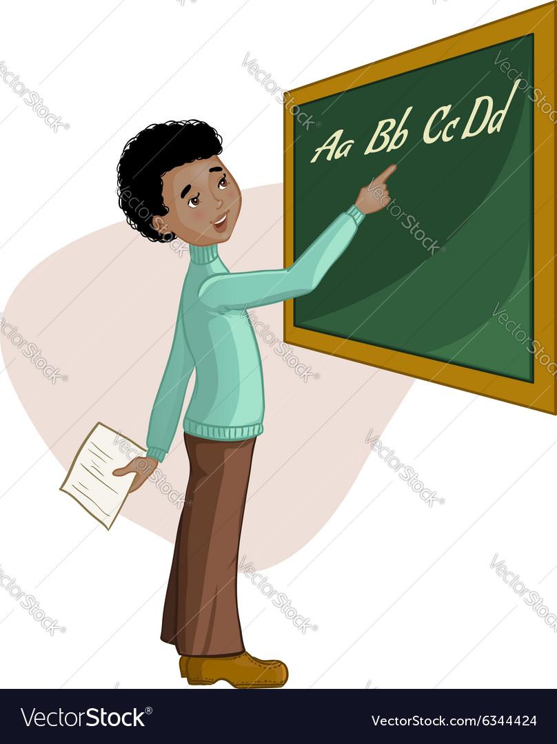 African american schoolboy at blackboard