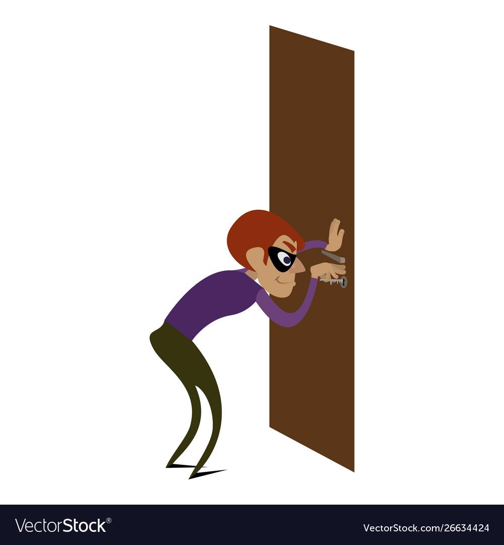 Burglar door icon cartoon style