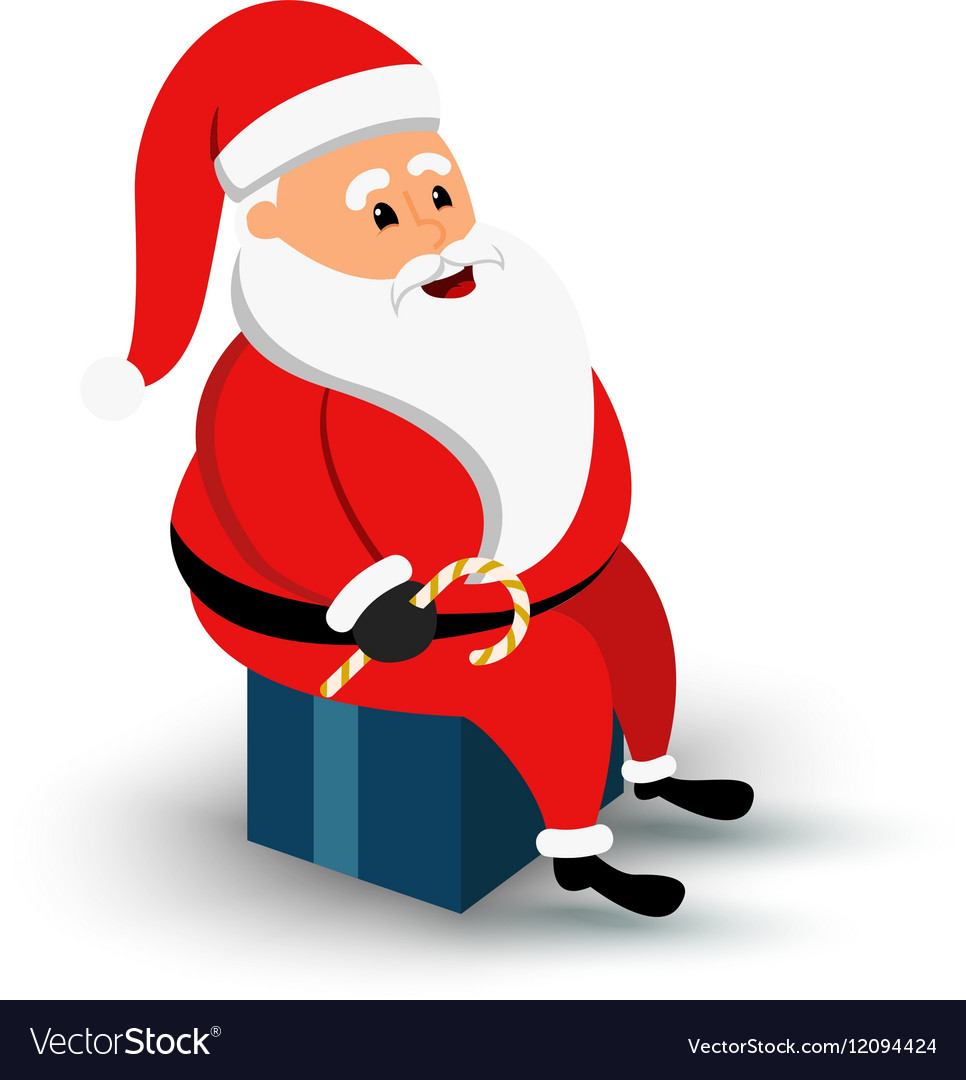 Christmas smiling Santa Claus character sitting on
